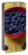 Blueberries In Red Bowl Portable Battery Charger