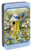 Bluebird Garden Home Portable Battery Charger by Crista Forest