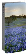 Bluebonnet Sunrise And A Windmill In Texas 1 Portable Battery Charger