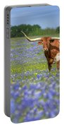 Bluebonnets And Longhorns 4 Portable Battery Charger