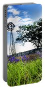 Bluebonnets With Windmill Portable Battery Charger