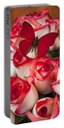 Blush Roses With Red Butterfly Portable Battery Charger