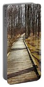 Boardwalk Over Golden Brown Iced Pond Portable Battery Charger