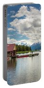 Boat House And Canoes On A Jetty At Maligne Lake In Canada Portable Battery Charger