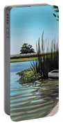 Boat On The Shadowed Beach Portable Battery Charger
