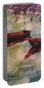 Boat Reflections Watercolor Painting Portable Battery Charger