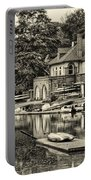 Boathouse Row In Sepia Portable Battery Charger by Bill Cannon