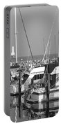 Boats And Reflections B-w Portable Battery Charger