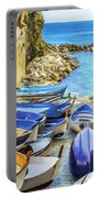 Boats At Cinque Terre Portable Battery Charger
