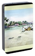 Boats In Beach Portable Battery Charger