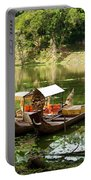 Boats In Lake Ankor Thom Portable Battery Charger