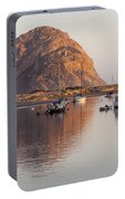 Boats In Morro Rock Reflection Portable Battery Charger
