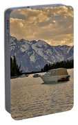 Boats On Jackson Lake At Sunset Portable Battery Charger