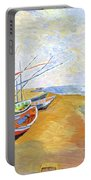 Boats On The Beach At Saintes-maries After Van Gogh Portable Battery Charger
