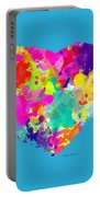 Bold Watercolor Heart - Tee Shirt Design Portable Battery Charger