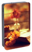 Books And Flowers Portable Battery Charger