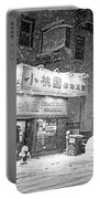 Boston Chinatown Snowstorm Tyler St Black And White Portable Battery Charger