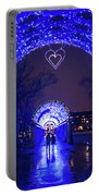 Boston Ma Christopher Columbus Park Trellis Lit Up For Valentine's Day Rainy Night Portable Battery Charger
