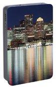 Boston Night Skyline Panorama Portable Battery Charger