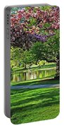 Boston Public Garden Pond Through The Cherry Blossom Spring Day Portable Battery Charger
