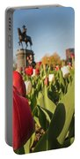 Boston Public Garden Tulips And George Washington Statue 2 Portable Battery Charger