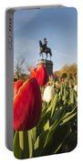 Boston Public Garden Tulips And George Washington Statue Portable Battery Charger