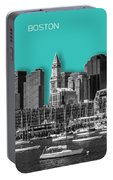 Boston Skyline - Graphic Art - Cyan Portable Battery Charger