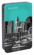 Boston Skyline - Graphic Art - Cyan Portable Battery Charger