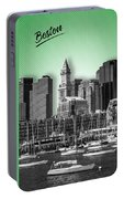 Boston Skyline - Graphic Art - Green Portable Battery Charger