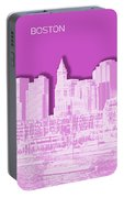 Boston Skyline - Graphic Art - Pink Portable Battery Charger