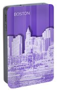 Boston Skyline - Graphic Art - Purple Portable Battery Charger