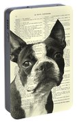 Boston Terrier Portrait In Black And White Portable Battery Charger