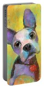 Boston Terrier Puppy Dog Painting Print Portable Battery Charger
