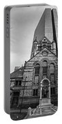 Boston Trinity Church And Hancock Building Boston Ma Black And White Portable Battery Charger