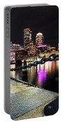 Boston Waterfront Skyline View Boston Ma Portable Battery Charger
