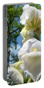 Botanical Landscape Trees Blue Sky White Irises Iris Flowers Portable Battery Charger
