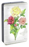 Botanical Vintage Style Watercolor Floral 3 - Peony Tulip And Rose With Butterfly Portable Battery Charger