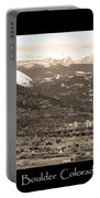 Boulder Colorado Sepia Panorama Poster Print Portable Battery Charger