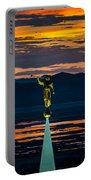 Bountiful Sunset - Moroni Statue - Utah Portable Battery Charger