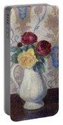 Bouquet De Roses Dans Un Vase 1885 Portable Battery Charger