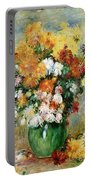Bouquet Of Chrysanthemums Portable Battery Charger by Pierre Auguste Renoir
