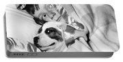 Boy And Dog Hiding Under Blanket Portable Battery Charger