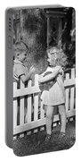 Boy And Girl Talking Over Fence, C.1940s Portable Battery Charger