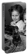 Boy And Girl With Train Set, C.1950s Portable Battery Charger