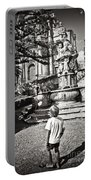 Boy At Statue In Sicily Portable Battery Charger
