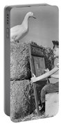 Boy Drawing Duck, C.1950s Portable Battery Charger