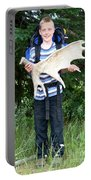 Boy Holding A Moose Antler Portable Battery Charger