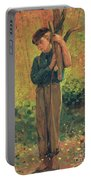 Boy Holding Logs Portable Battery Charger by Winslow Homer