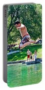 Boy Jumping Off The Board Into Dierkes Lake In Snake River Near Twin Falls-idaho   Portable Battery Charger