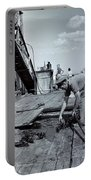 Boy Watching Fisherman Unload Lobsters Portable Battery Charger